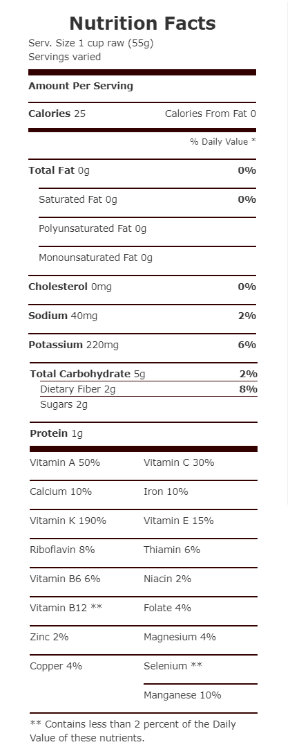 nutrition facts-dandelion_freshdirect-com